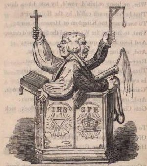 An illustration by George Cruikshank accompanying 'The Clerical Magistrate', a poem which appeared in Hone's controversial work 'The Political House Which Jack Built'. The hypocritical clergyman-cum-magistrate depicted is the Reverand Charles Ethelstone of Manchester.