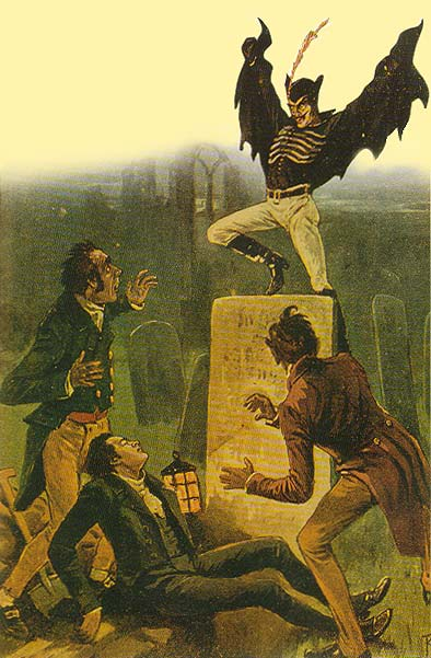Spring Heeled Jack, as depicted circa 1837.