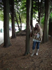 The author in front of the pentagram of trees in Park House Passage