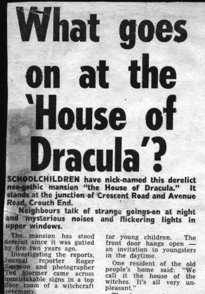 House of Dracula headline (c) Hornsey Journal