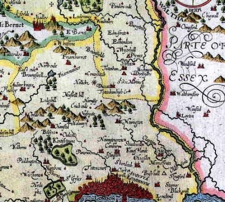 Lodge Hill shown on a map of 1610