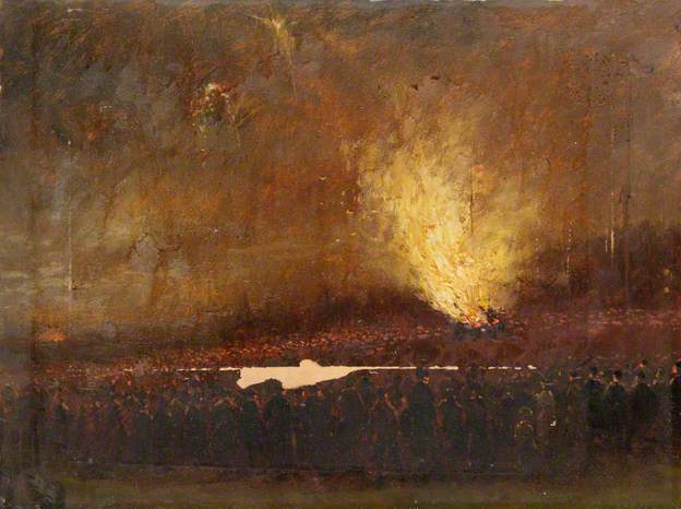 Jubille Bonfire on Hampstead Heath by Robert Finlay McIntrye 1897 (c) Camden Local Studies and Archives Centre; Supplied by The Public Catalogue Foundation
