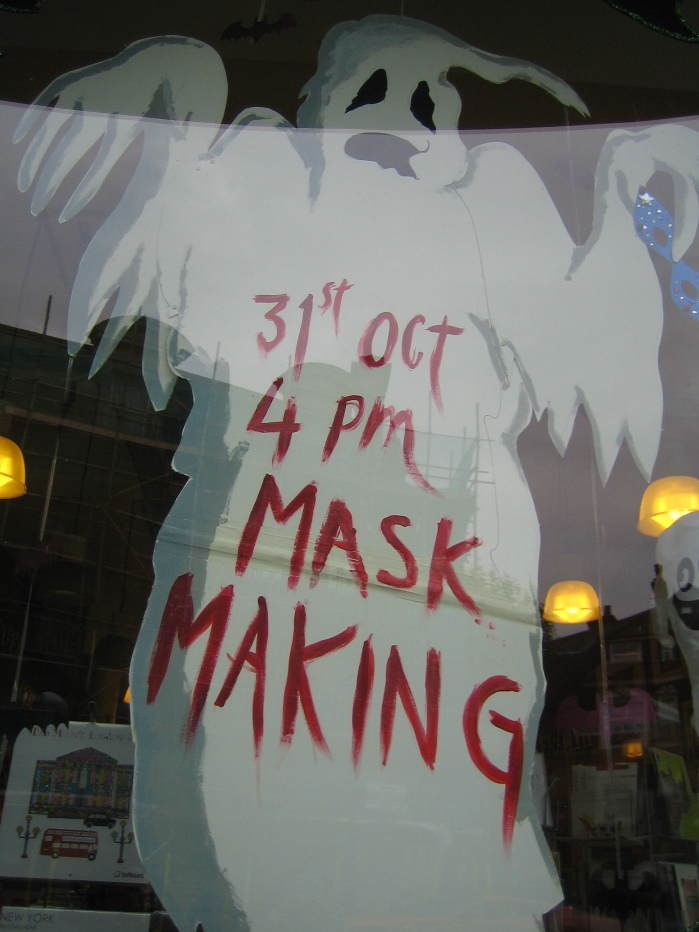 Art for Arts sake Muswell Hill Mask Making Halloween display 2014