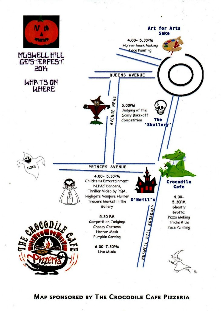 Directions to the Muswell Hill Geisterfest
