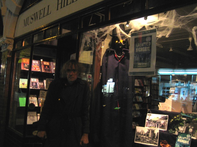 A shivering David Farrant, having been dutifully dragged up to Muswell Hill Bookshop on a cold blustery night to ... pose in the dark! It seemed like a good idea at the time!