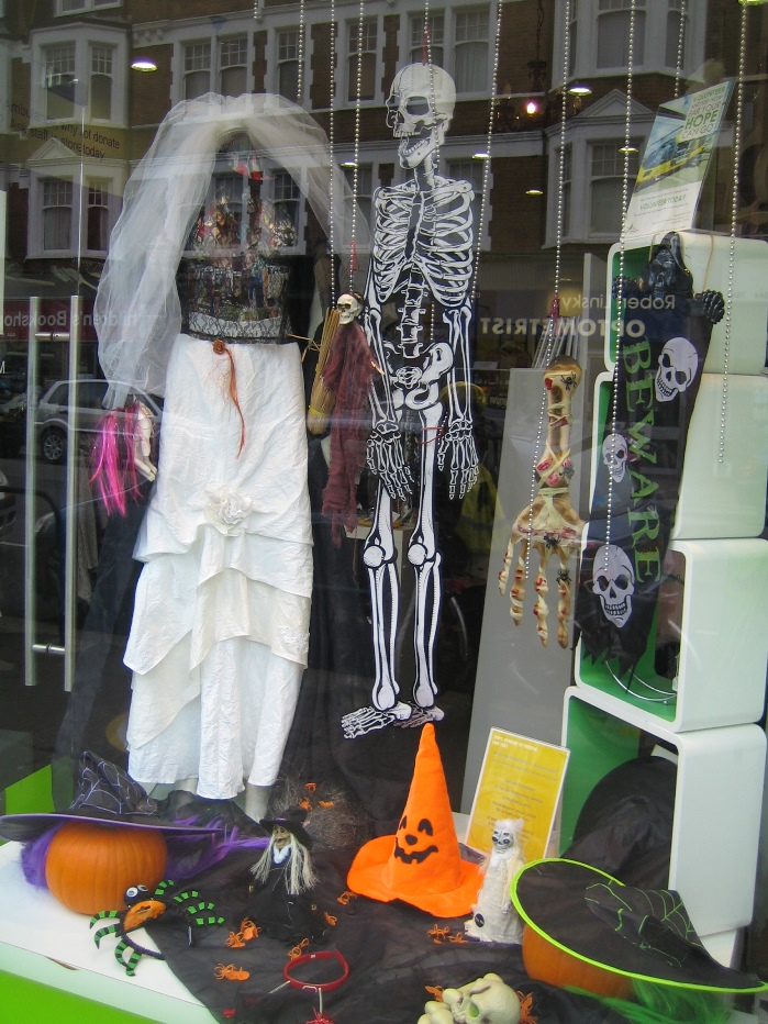 Little Lives Matter Charity Shop Muswell Hill Halloween display 2014