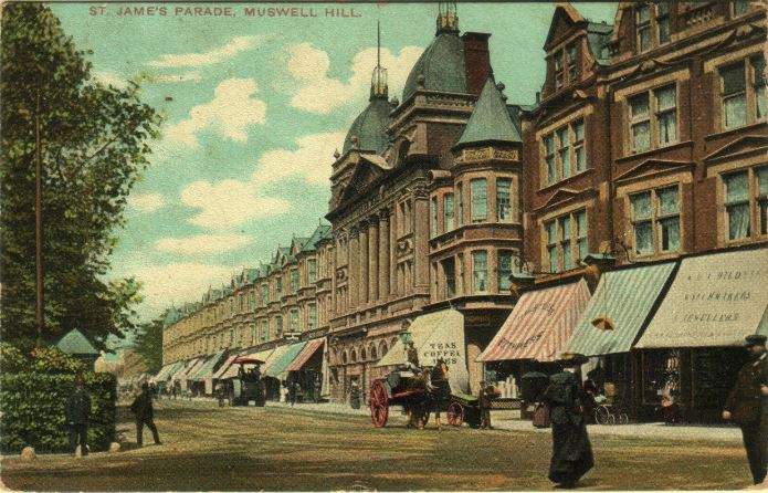 St James Parade Muswell Hill circa 1905.  The bookshop is approx. half way along on the right.