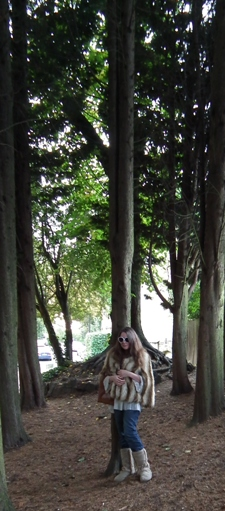 Della Farrant in Front of Pentagram of Trees at Parkhouse Passage Highgate 2013