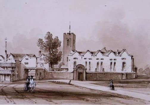 Highgate School & Old Chapel around 1840, with the Gatehouse and its arhc visible to the left.