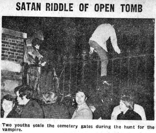 Shocking scenes occurred in Swains Lane on the night of Friday 13th of March 1970, after an irresponsible local prankster claimed on national TV that a 'vampire' was at loose in the cemetery.